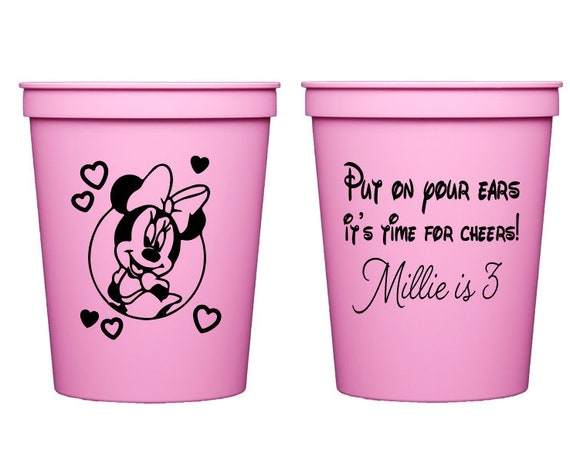 Minnie Mouse birthday cups, Minnie mouse birthday favor, Minnie mouse theme, Girls birthday party cups, Personalized cups, Plastic party cup