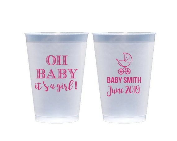 Baby shower cups, Oh baby it's a girl, It's a boy, Personalized cups, Shatterproof cups, Baby carriage cups, Baby shower party favor