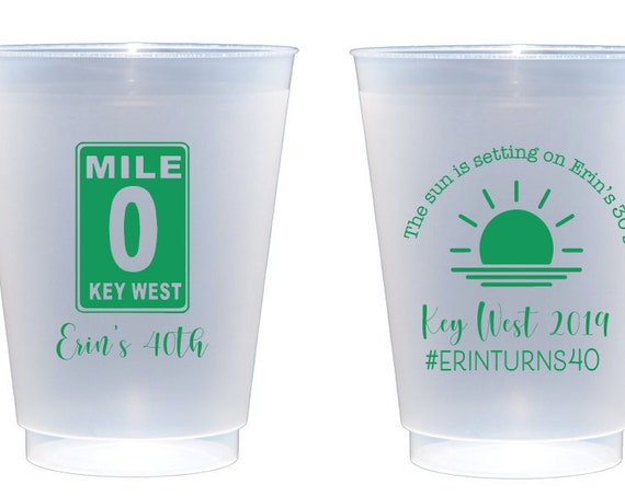 Key West birthday cups, Personalized shatterproof cups, 40th birthday cups, Beach birthday theme, Sun is setting on your 30s