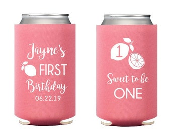 Lemon birthday party, Lemon birthday hugger, First birthday party favor, Personalized can cooler, neoprene can cooler, personalized huggie