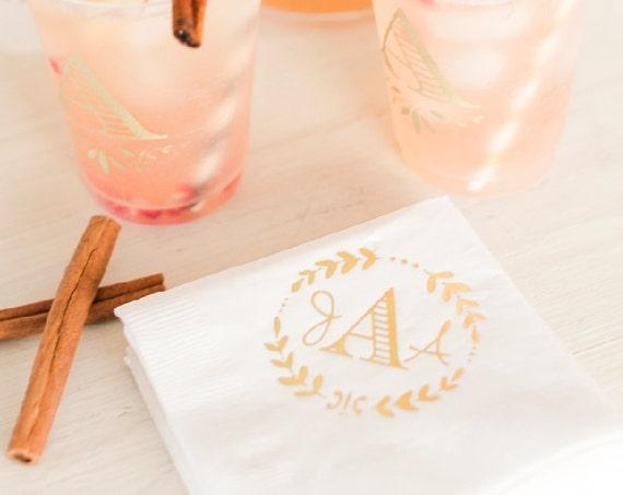 monogrammed cocktail napkins, floral wreath napkin, reception napkins, wedding shower napkins, wedding napkins, engagement party favor