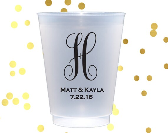 Personalized plastic cup, monogrammed shatterproof cup, wedding cups, wedding cup favors, reception cups, engagement party, monogrammed cups