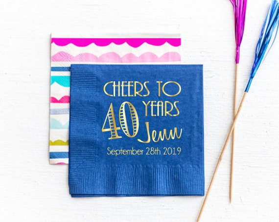 30th Birthday napkins, Cheers party napkins, navy and gold foil napkins, birthday party decor, birthday party supplies, cheers party favors