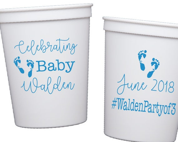 gender neutral baby shower cups, baby shower party favor, personalized plastic cups, personalized stadium cups, couples baby shower cups
