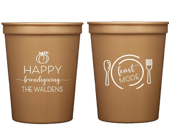 Friendsgiving cups, Happy friends giving, Feast mode, Cute Thanksgiving cups, Cute friendsgiving cups, Personalized Thanksgiving cups