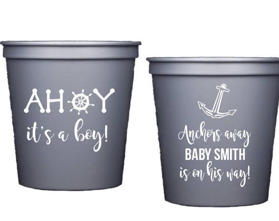 Nautical Baby Shower Cups, Baby Shower Stadium Cup, Ahoy it's a boy, Anchors Away, Personalized plastic cup