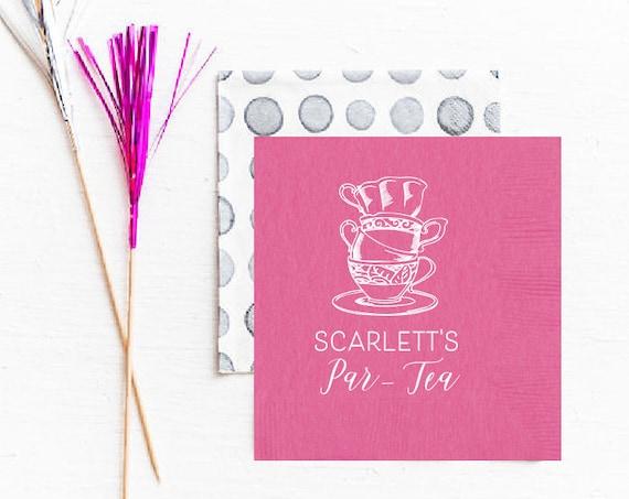 Tea party napkins, Tea party favor, Tea party decor, Tea party birthday, Birthday par tea, Personalized napkins, Girls birthday party