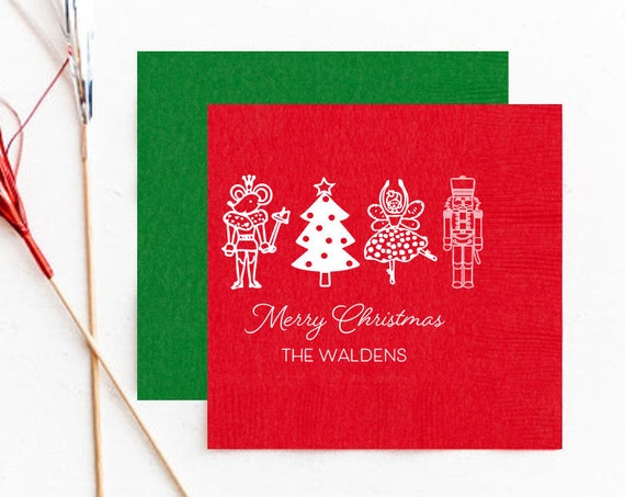 Nutcracker napkins, Christmas napkins, Holiday party napkins, Personalized Christmas napkins, Nutcracker party, Merry Christmas napkins