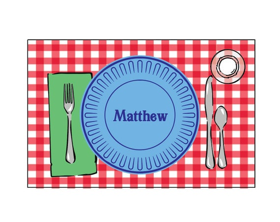 Laminated placemat, Personalized placemat, Kids Placemat, Customized Placemats for kids, Craft mat, Gingham placemat, Play dough mat
