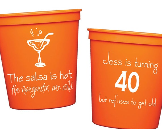 personalized 40th birthday cups, fiesta party decorations, fiesta birthday party cups, personalized plastic cups, party cups, party favor