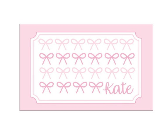 Personalized placemat, Craft mat, Bow placemat, Kids Placemat, Customized Placemats for kids, Personalized Kids Gift, Laminated placemat