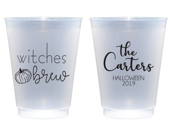 Witches brew cups, Halloween cups, Halloween party cups, Pumpkin party cups, Personalized Halloween cups, Personalized shatterproof cups
