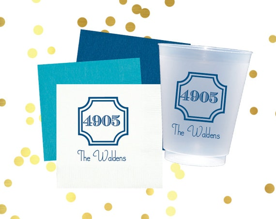 Housewarming cups, Personalized napkins, personalized cups, monogrammed napkins, housewarming gift, new homeowner gift idea, custom cups
