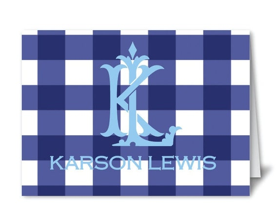 Gingham stationery, Monogram stationery, Gingham notecards, Personalized thank you notes, Personalized stationery, Monogram notecards