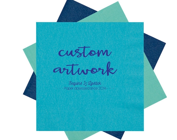 personalized napkins, custom artwork cocktail napkins, monogrammed napkins, party napkins, reception napkins, wedding napkins