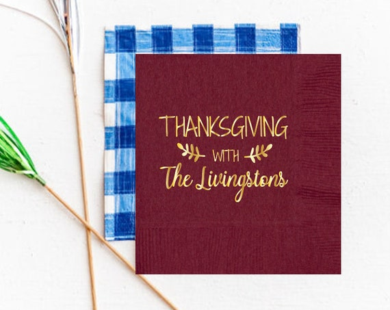 Thanksgiving napkins, Friendsgiving napkins, Personalized napkins, Personalized thanksgiving napkin, Thankful napkins, Thanksgiving gift
