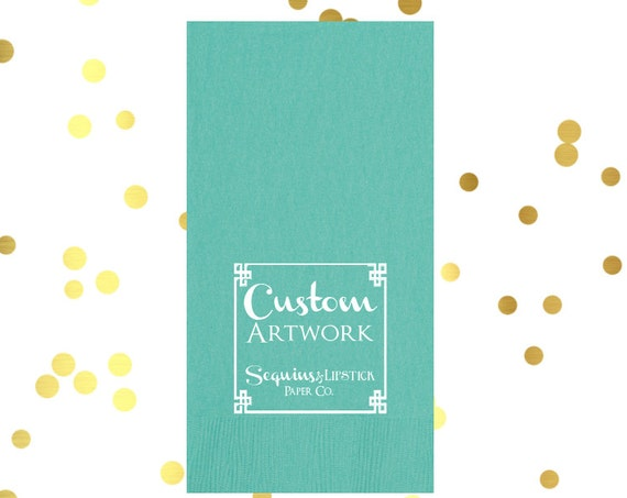 Custom logo guest towels, monogrammed guest towel, reception guest towels, wedding napkins, custom artwork party napkins