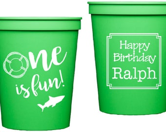 One is fun birthday party, shark themed birthday party, fish theme birthday, first birthday party, kid birthday party, personalized cups