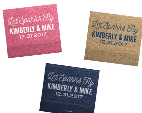 Wedding matchbooks, personalized matches, reception matches, monogram matchbook, sparkler send off matches, let sparks fly matches