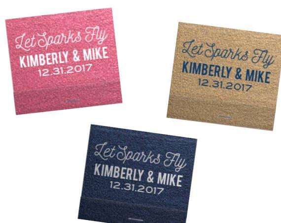 Wedding matchbooks, let sparks fly, personalized matches, reception matches, sparkler send off matches, shimmer paper, wedding favor
