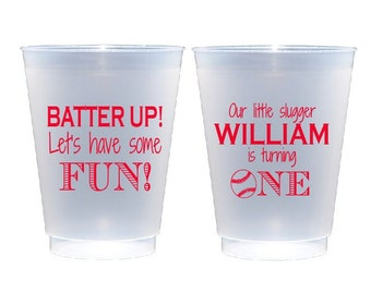 Baseball themed birthday party, Little slugger birthday, Kids birthday cups, personalized cup, First birthday, personalized plastic cup