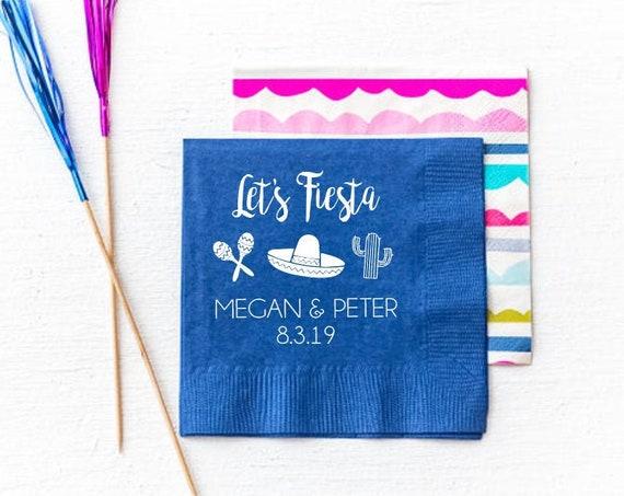 Lets fiesta napkins, Fiesta shower napkins, Personalized fiesta party napkins, Fiesta couples shower, Cinco de mayo party napkins