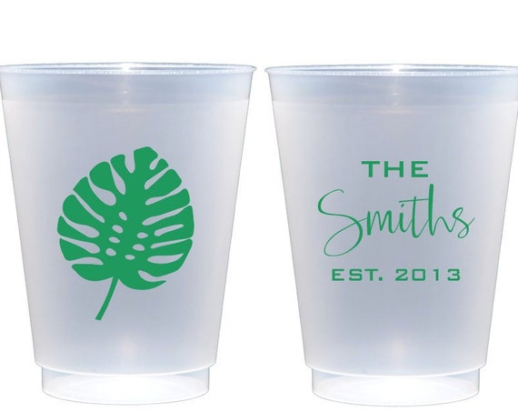 Palm leaf cups, Personalized frosted cups, monogrammed shatterproof cup, monstera leaf cup, Personalized shatterproof cups, housewarming