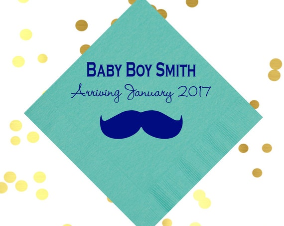 mustache napkins, baby boy shower napkins, baby shower decor, personalized napkins, boys birthday napkins, kids birthday party, party favor