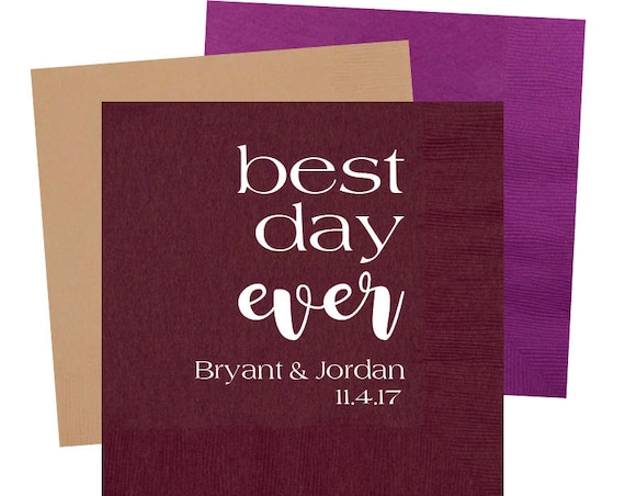 best day ever napkins, monogrammed cocktail napkins, personalized reception napkins, wedding napkins, monogrammed napkins, beverage napkins