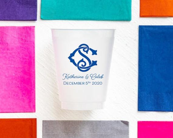 Monogrammed wedding cups, Monogrammed reception cups, Personalized wedding cups, Personalized frosted cups, Personalized wedding favor