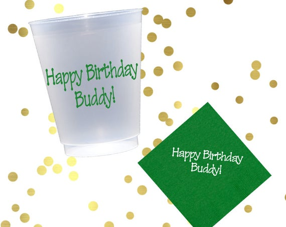 Happy birthday cups, personalized plastic cup, birthday party favor, custom party favors, birthday napkins, kids birthday party cups