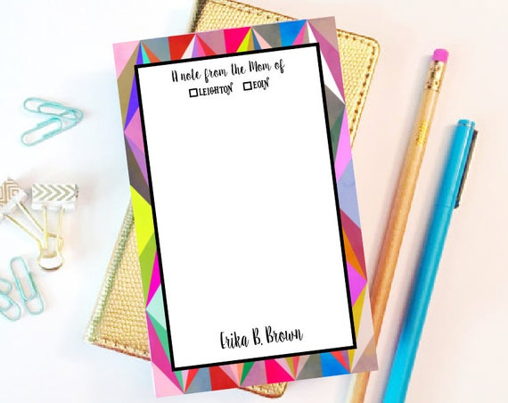 Mom of Notepad, Note from the Mom of Notepad, Kids Notepad, Back to School, 5x7 Custom Notepad, Custom Stationery, Custom Notepad, mom note
