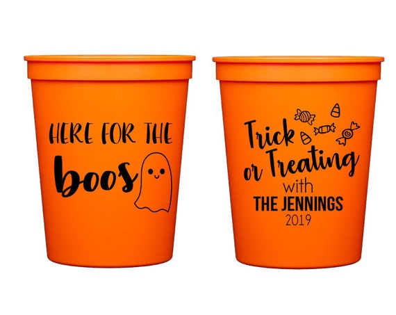 Here for the boos, Here for the booze, Halloween cups, Halloween party favor, Halloween party cups, Personalized plastic halloween cups