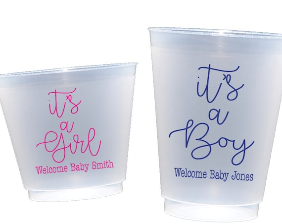 gender reveal cups, baby shower cups, it's a boy, it's a girl, personalized cups, personalized plastic cups, personalized shatterproof cups
