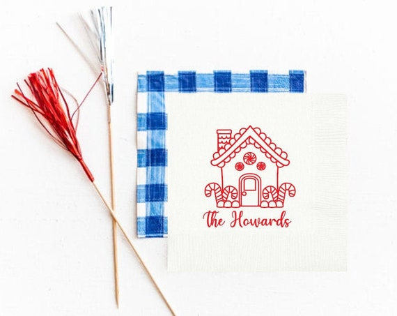 Gingerbread house napkins, Personalized Christmas napkins, Gingerbread house party, Gingerbread house decorating, Holiday party napkins