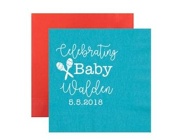fiesta napkins, fiesta baby shower, let's fiesta napkins, baby shower napkins, gender neutral baby shower, personalized napkin, party napkin