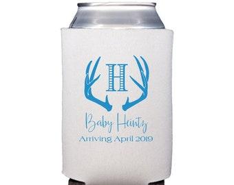 Antler can cooler, Antler drink sleeve, Baby shower hugger, Baby shower huggie, Baby shower drink sleeve, Personalized can cooler, Baby boy