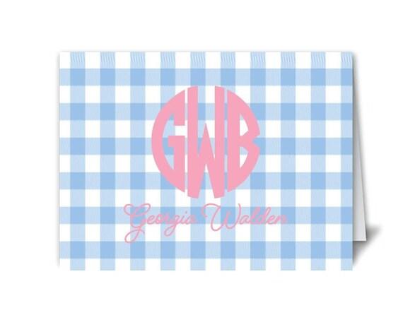 Monogrammed notecards, Gingham notecards, Ladies stationery, Girls stationery, Gingham stationery, Gingham print, Monogrammed gift idea