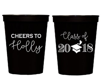 Graduation cups, Class of 2019 cups, 2019 graduation, Personalized stadium cups, graduation party favors, Custom party cups, tassle cups