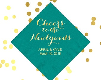 wedding reception napkins, cheers to the newlyweds napkins, rehearsal dinner decorations, engagement party decor, reception napkins