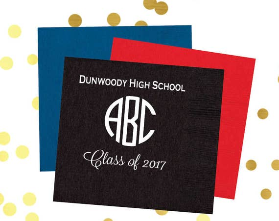 Graduation napkins, monogrammed napkins, congrats grad napkins, class of 2018, high school graduation party, party favor, party decor