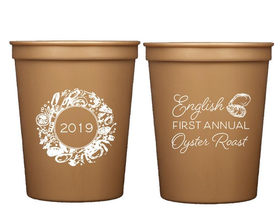 Oyster roast party cups, Oyster roast cups, Personalized plastic cups, Customizable cups, Oyster roast party favor, Custom cups, party cups