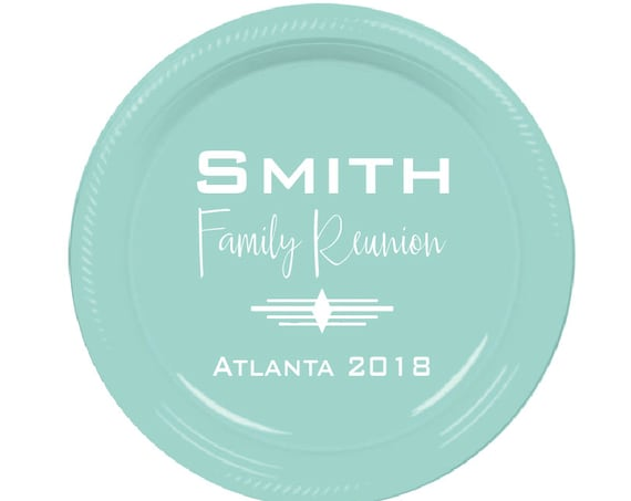 Family reunion plates, personalized plates, custom plates, disposable plates, party plates, family gathering, party favors, throw away plate