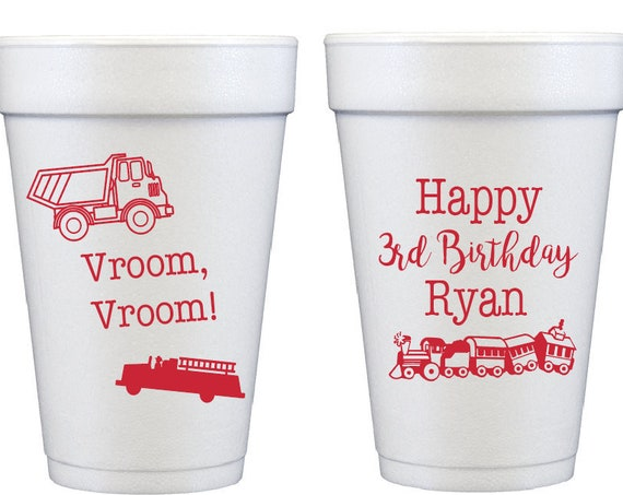 Kids birthday foam cups, Boys birthday cups, Train birthday party cups, Train theme party, Car theme birthday, Vroom Vroom, personalized cup