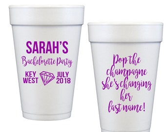 Bachelorette bash cups bachelorette party cups key west bachelorette weekend cups party favor cups pop the champagne bride tribe cups