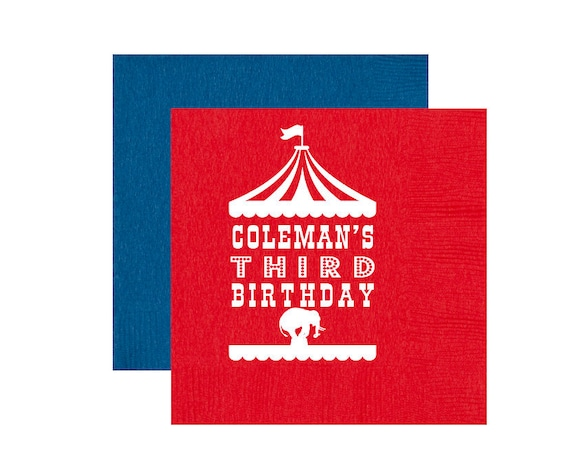 Circus napkins, Circus birthday napkins, Circus theme party favor, Under the big top theme, Personalized napkins, Circus tent decor