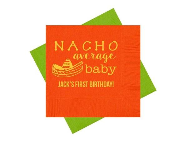 nacho average baby napkins, baby shower napkins, babys first birthday party, nacho birthday, fiesta birthday, fiesta themed party