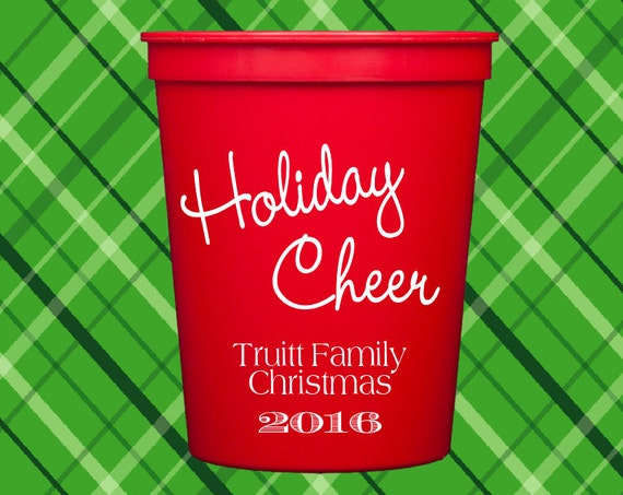 Christmas personalized plastic cups, Christmas cups, personalized stadium cups, party cups, Holiday cups, Merry Christmas cups
