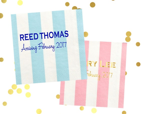baby shower napkins, baby shower decor, striped napkins, personalized napkins, pastel napkins, custom napkins, personalized cocktail napkins