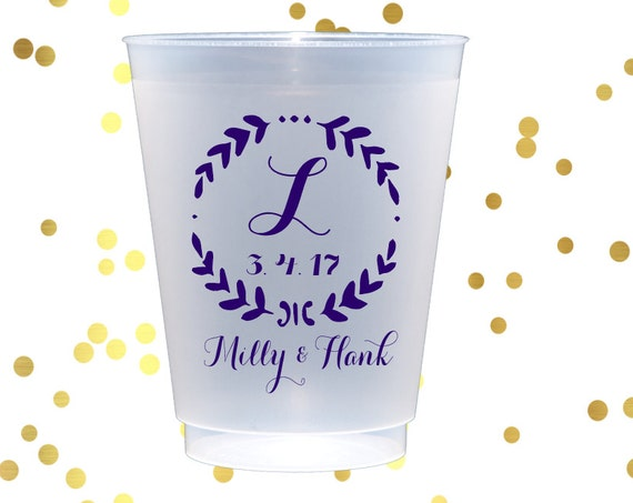 Personalized frosted cups, Reception cups, Personalized plastic cups, Wedding cups, Monogrammed plastic cups, Customizable plastic cups